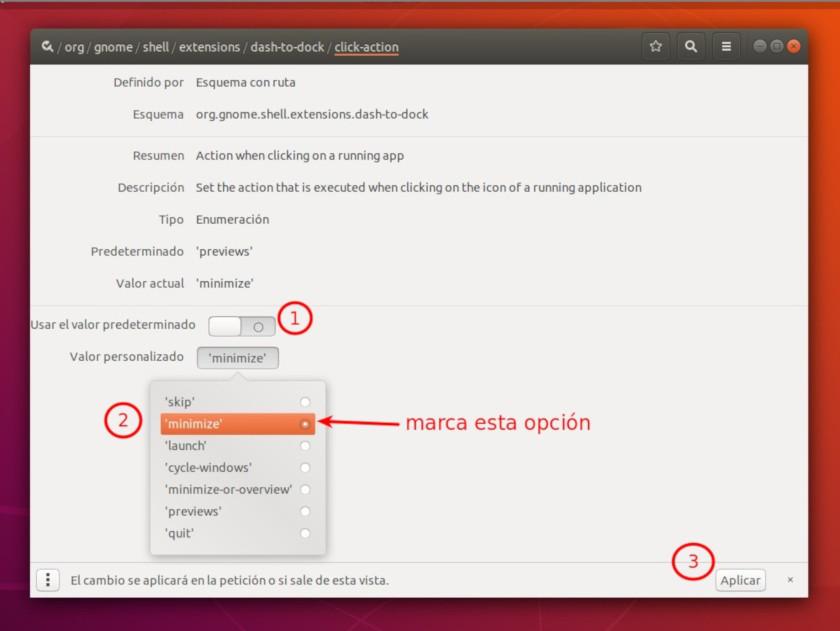 activar minimizar en dconf-editor