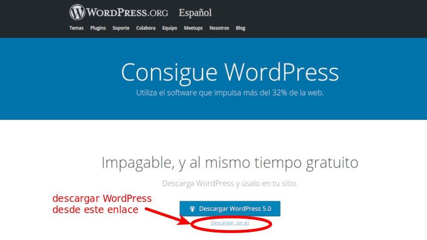 Descargar archivo de WordPress