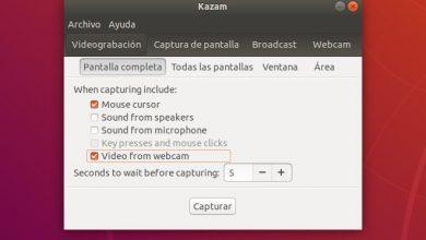 Kazam capturar pantallas