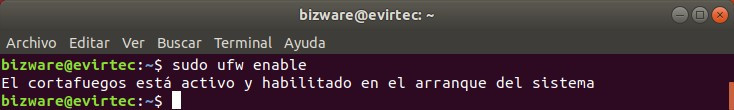 Terminal comando enable ufw