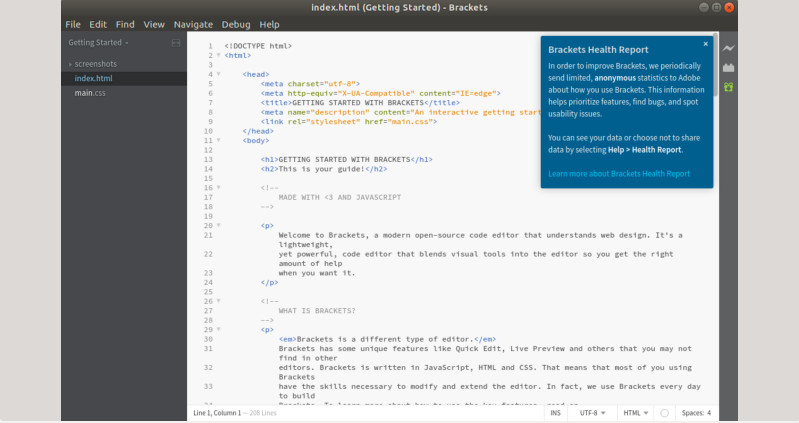editor de código frontend