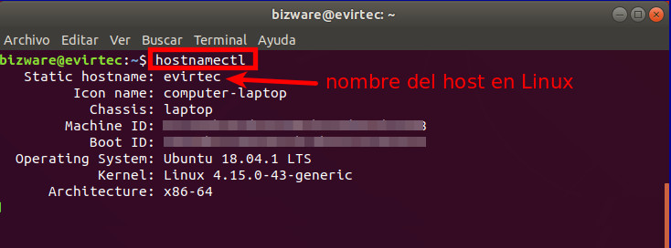 nombre del host en linux