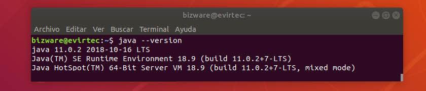 Versión de Oracle Java instalado