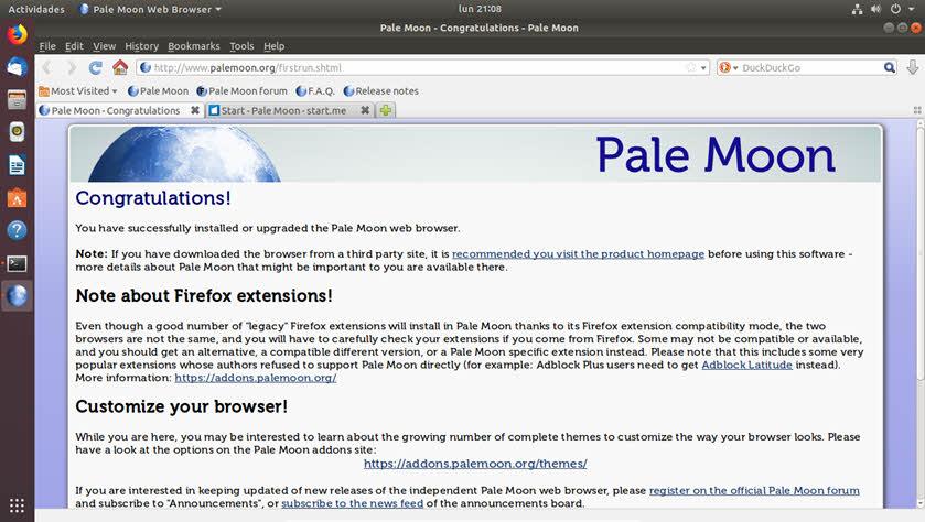 Cómo instalar Pale Moon en Ubuntu 18.04
