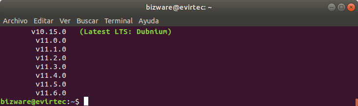 versiones de node.js