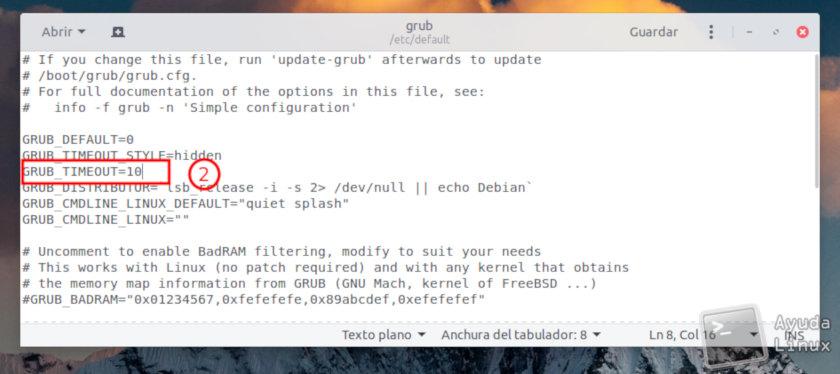 Modificar el tiempo de espera del Grub