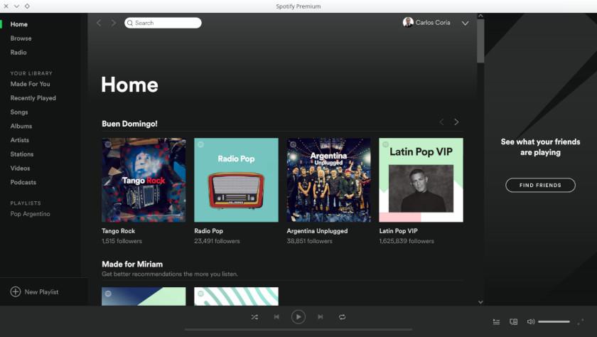 Cuenta de Spotify en Ubuntu