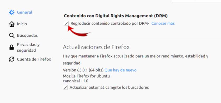habilitar la reproducción de DRM en Firefox