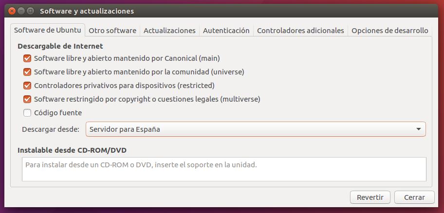 Software y actualizaciones Software de Ubuntu