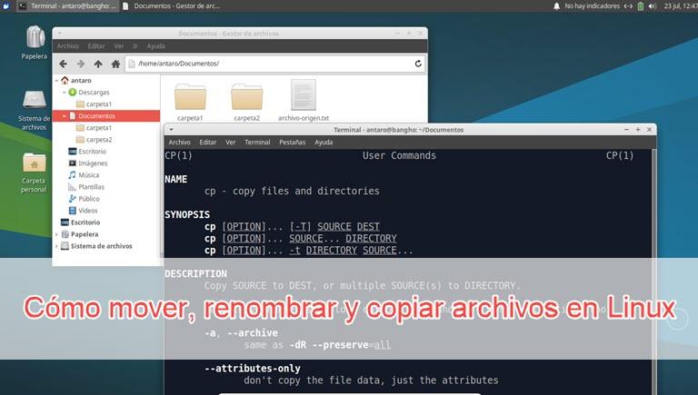 Cómo mover, renonmbrar y copiar archivos en Linux