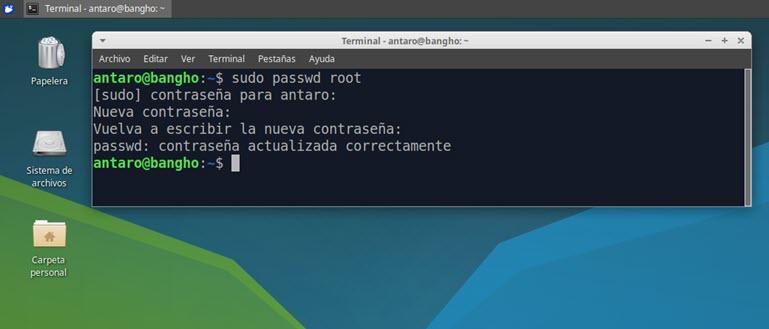 password del usuario root activo en Ubuntu