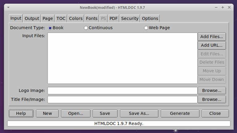 interfaz de HTMLDOC