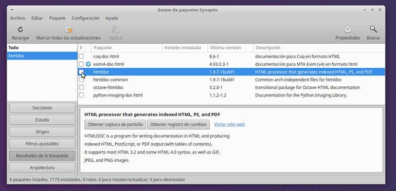 instalar htmldoc con Synaptic