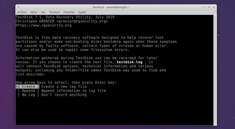 testdisk crear un registro de actividad