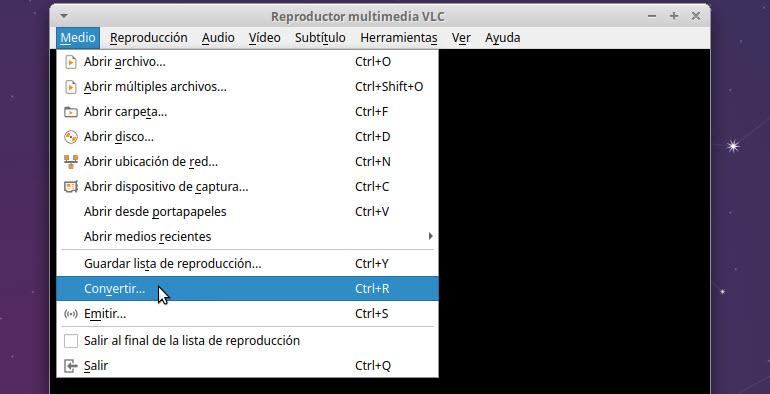 VLC menú convertir archivos