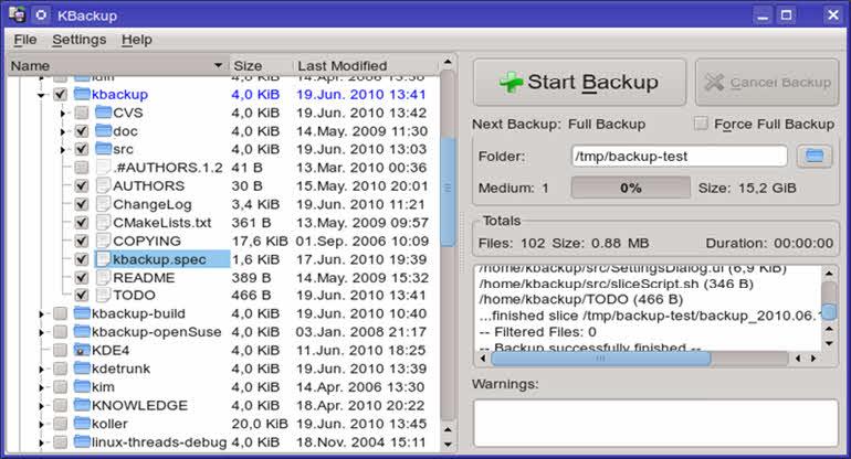 KBackup: para directorios y archivos