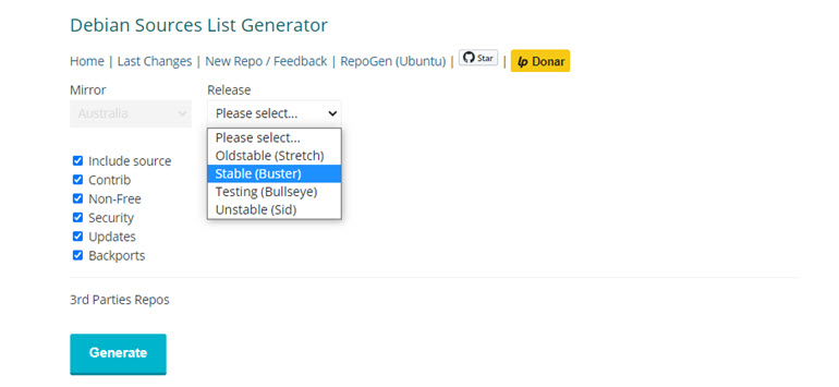 Debian Sources List Generator